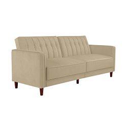 DHP Pin Velvet Convertible Sleeper Sofa in Tan