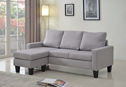 Home Life Linen Cloth Modern Contemporary Upholstered Quality Sectional Left or Right Adjustable ...