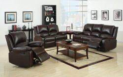 Furniture of America Wulner 3-Piece Leatherette Recliner Sofa Set, Rustic Dark Brown Finish