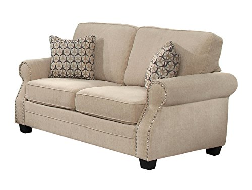 Homelegance Bechette Rolled Arm Loveseat With Polished