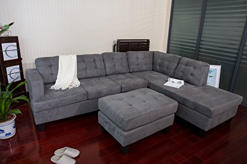Merax Sofa 3-piece Reversible Sectional Sofa with Chaise and ...