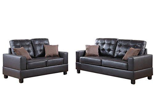 Poundex F7857 Bobkona Aria Faux Leather 2 Piece Sofa And