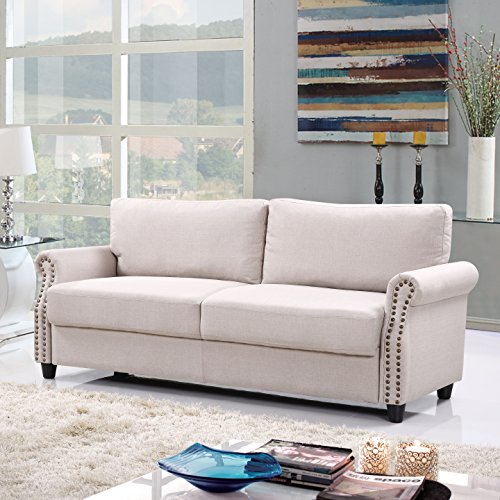 Classic Living Room Linen Sofa With Nailhead Trim