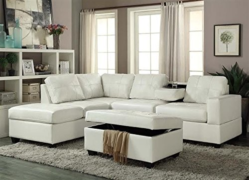 Gtu Furniture Pu Leather Living Room Reversible Sectional