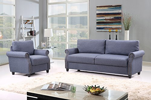 2 Piece Classic Linen Fabric Living Room Sofa And Armchair