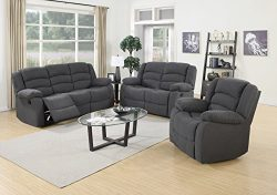 US Pride Furniture 3 Piece Grey Fabric Reclining Sofa, Loveseat & Chair Set