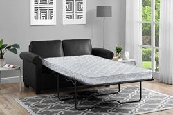 DHP Premium Sofa Bed, Pull Out Couch, Sleeper Sofa with Pull Out Bed, Twin Size Black Faux Leath ...