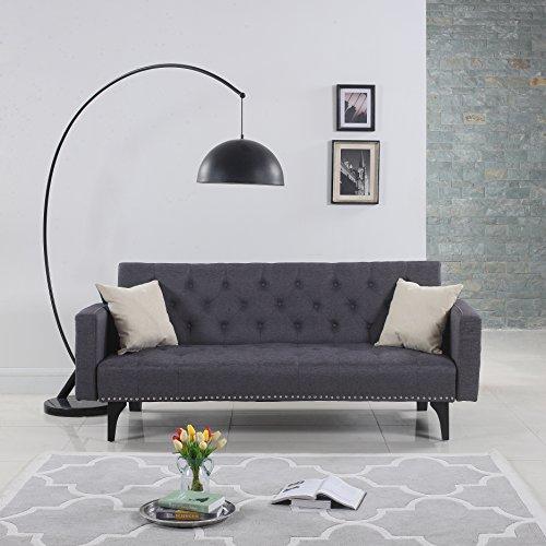 Modern Nailhead Sofa: Modern Tufted Fabric Sleeper Sofa Bed With Nailhead Trim
