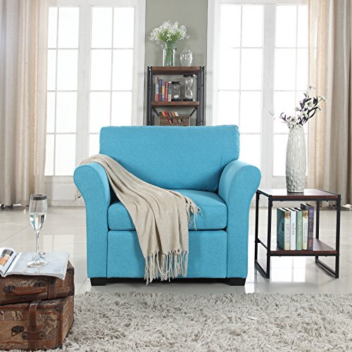 Classic And Traditional Linen Fabric Accent Chair Living Room Armchair Blue Gvdesigns