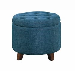 Homelegance Round Storage Accent Ottoman With Button-Tufted, Blue