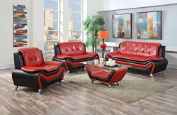 US Pride Furniture 4 Piece Modern Bonded Leather Sofa Set with Sofa, Loveseat, Chair, and Coffee ...