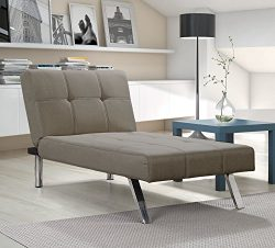 Layton Chaise Lounge Sofa Sectional in Premium Linen, Available in Navy and Tan with Slanted Chr ...