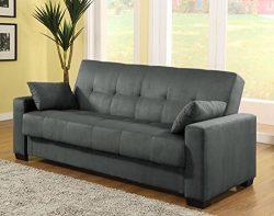 Pearington Mia Microfiber Sofa Sleeper Bed & Lounger with Storage, Grey