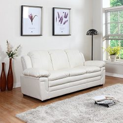 Divano Roma Classic Bonded Leather Sofa and Loveseat Living Room Furniture, Color Black, Brown,  ...
