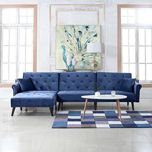 Mid Century Modern Style Velvet Sleeper Futon Sofa Living