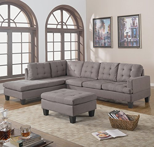 Sectional Sofa Couch Reversible Chaise Ottoman Furniture: Divano Roma Furniture 3-Piece Reversible Chaise Sectional