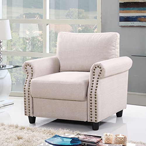 Classic Linen Fabric Living Room Accent Chair