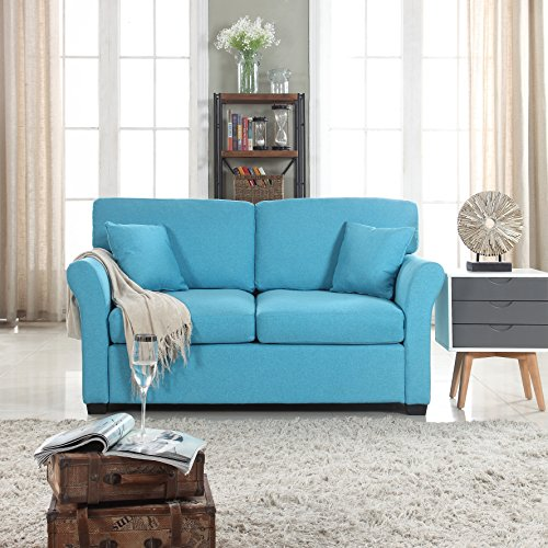 Classic And Traditional Ultra Comfortable Linen Fabric Loveseat Living Room Fabric Couch Blue