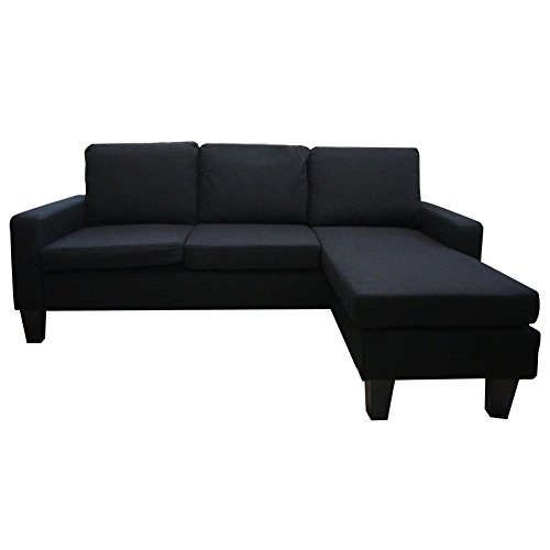Wakrays Black Modern Fabric Sectional Sofa With Reversible