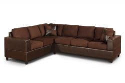 Bobkona Trenton 2-Piece Sectional Sofa with Accent Pillows, Chocolate