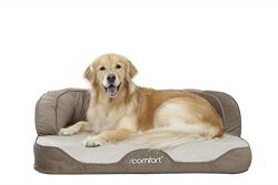 iComfort Sleeper Sofa Pet Bed with Dual Action Cool Effects Gel Memory Foam, Large, Grey