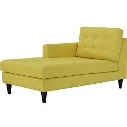 Modway Empress Mid-Century Modern Upholstered Fabric Left-Arm Chaise Lounge In Sunny