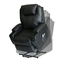 MAGIC UNION Wall Hugger Power Lift Massage Recliner Heated Vibrating Chair with 2 Controls Wheel ...