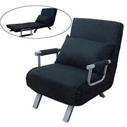 FCH Folding Sofa Bed Convertible Arm Chair Sleeper Recliner Lounge Couch,Black