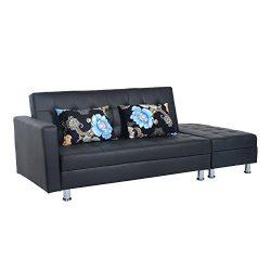 HomCom PU Leather Folding Sofa Couch Sleeper Bed w/ Storage Ottoman – Black