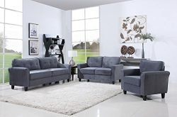 Classic Living Room Furniture Set – Sofa, Love Seat, Accent Chair (Dark Grey)