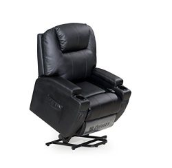 LCH Power Lift Black Bonded Leather Recliner Chair Classic and Modern 1 Seater Sofa Lift Chair w ...