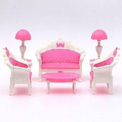 Cute Mini Dollhouse Furniture Living Room Parlour Sofa Set Barbie Accessories Pink Lovely Dollho ...