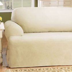 Sure Fit Duck Solid T-Cushion – Loveseat Slipcover  – Natural (SF28610)