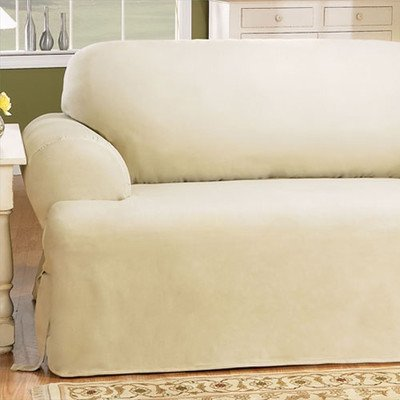 Sure Fit Duck Solid T Cushion Loveseat Slipcover Natural SF gvdesigns