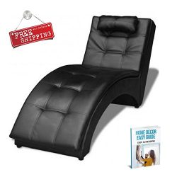 Indoor Chaise Lounge Chair Black Furniture Modern Large Reclining Lounge Living Room Bedroom Lea ...