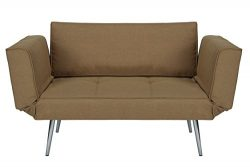 DHP Euro Sofa Futon Loveseat with Chrome Legs and Adjustable Armrests – Tan