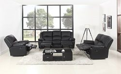 Classic Oversize and Overstuffed Living Room Recliner Set – 3 Piece Air Leather Chair Recl ...