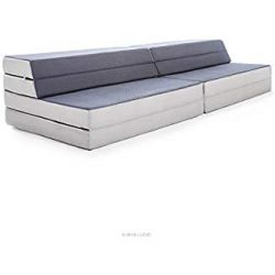 LUCID King / Twin XL Convertible Folding Foam Mattress-Sofa – Folds to 8 in. Twin XL Mattr ...