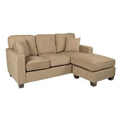 AVE SIX Russell Sectional Sofa with 2 Pillows and Coffee Finished Legs, Earth Fabric