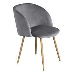 Modern Velvet Accent Living Room Chair,Upholstered Armchair Club Chair with Solid Steel Legs for ...
