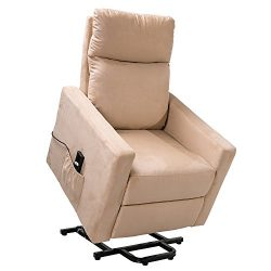 Merax Power Lift Chair and Power Recliner in Suede Fabric, Living Room Recliner with Heavy Duty  ...