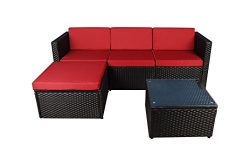 Modern Outdoor Garden, Sectional Sofa Set with Coffee Table – Wicker Sofa Furniture Set (B ...