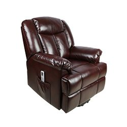 Frivity Power Lift Recliner Sofa Chair With Heating And Massage, Luxurious Breathable Leather Ro ...