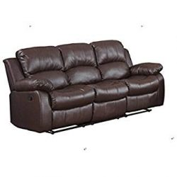 Classic and Traditional Brown Bonded Leather Recliner Chair, Love Seat, Sofa Size – 1 Seat ...