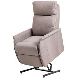 Giantex Electric Power Lift Chair Recliner Sofa Chair, With Fabric Padded Seat ,W/Remote (Light  ...
