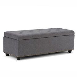 Simpli Home Hamilton Rectangular Storage Ottoman Bench, Large, Slate Grey