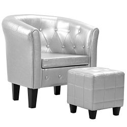 Harper&Bright designs Armchair Modern Upholstered Living Room Club Chair with PU Leather/Ott ...