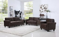Classic Living Room Furniture Set – Sofa, Love Seat, Accent Chair (Brown)