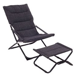 Giantex Folding Leisure Recliner Lounge Chaise Chair Indoor Outdoor Furniture w/Ottoman (Black)