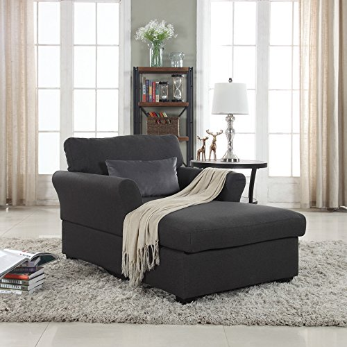 Large Classic Linen Fabric Living Room Chaise Lounge Dark Grey Gvdesigns Gvdesigns